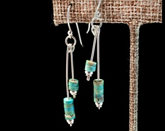 Turquoise Earrings, Silver and Turquoise Earrings, Natural Turquoise Earrings, Blue Stone Earrings, Blue Turquoise Earrings, Rustic Earrings