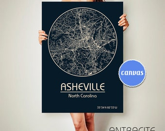 ASHEVILLE North Carolina CANVAS Map Asheville North Carolina Poster City Map Asheville North Carolina Art Print Asheville North Carolina