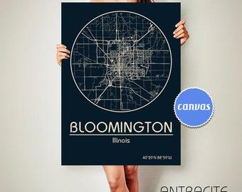 BLOOMINGTON Illinois CANVAS Map Bloomington Illinois Poster City Map Bloomington Illinois Art Print Bloomington Illinois poster ArchTravel