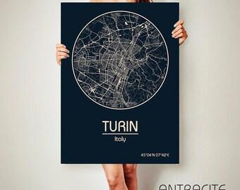 TURIN Italy CANVAS Map Turin Italy Poster City Map Turin Italy Art Print Turin Italy poster Turin Italy map art Poster Turin Italy map
