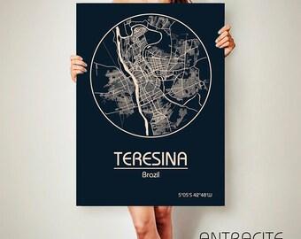 TERESINA Brazil CANVAS Map Teresina Brazil Poster City Map Teresina Brazil Art Print Teresina Brazil