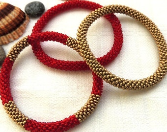 Antique Gold and Red Seed Bead Roll On Bracelets  - Bead Crochet Rope Bracelets - Bracelet Beaded