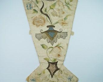 18th Century Stomacher Polychrome Silk Embroidered Circa 1720 RARE AF