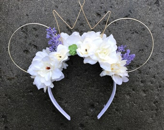 Cream and Lavender Floral Wire Ears
