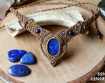 macrame lapislazuli necklace with brass beads light brown