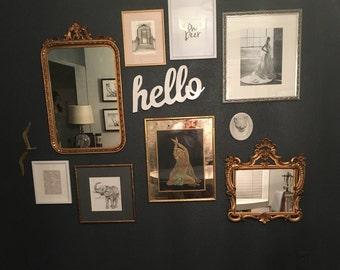HOLLYWOOD REGENCY MIRROR, Rectangular Vintage Gold Frame, Victorian gold mirror