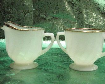 Vintage Fire King Sugar Bowl and Creamer trimmed in gold gilding, Fire King stamped on bottom