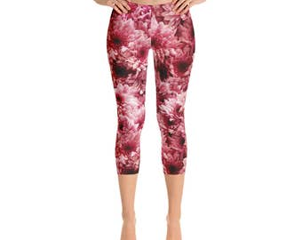 Capris - Flower Leggings, Pink Floral Yoga Pants, Mid Rise Stretch Pants, Spring Leggings for Women