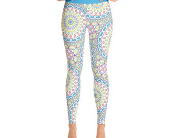 Colorful Leggings - Spring Leggings, Fun Leggings, Blue and Yellow Yoga Pants, Multicolor Mandala Pattern Fashion Tights