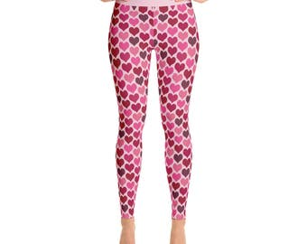 Valentines Day Leggings - Pink and Red Hearts Leggings, February Yoga Pants, Cute Tights, Cute Leggings