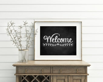 Welcome Sign, Chalkboard Welcome Print, Housewarming Gift, Printable Wall Art, Home Decor, Rustic Home Decor, Printable Wall Art, Digital