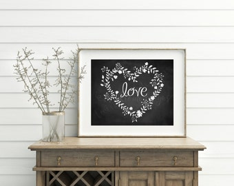 Printable Wall Art, Love chalk sign, Chalk Printable, Love Art, Wedding Decor, Rustic, 8x10 Digital File, Instant Download