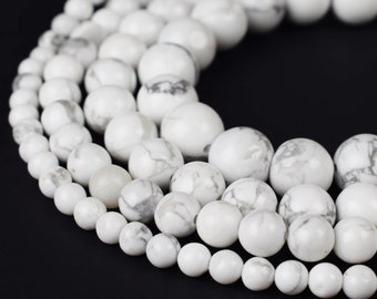 "Natural Howlite Beads 4mm 6mm 8mm 10mm Round 15.5"" Full Strand Wholesale Gemstones"