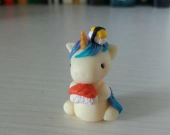 Kawaii sushi lover unicorn : glow in the dark polymer clay figurine