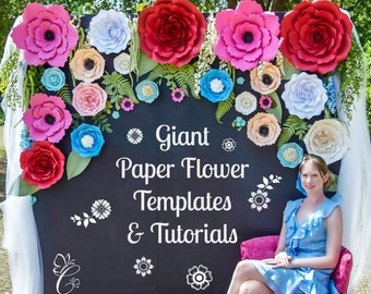 Large Paper Flowers, Paper Flower Kit, Tutorials, Flower Templates, Birthday Backdrop Decor, Paper Flowers DIY with Instructions, Set of 5