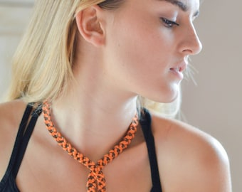 Orange and Brown silk and woven metal necklace