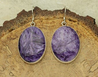 Charoite Dangle Earrings, Purple Charoite Wire Earrings, Sterling Silver Dangle Earrings, French Hooks