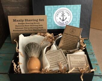 Manly Men's Shaving Gift Set - Badger Brush, Dish, Eucalyptus and Citrus Shaving Puck Soap , Old fashioned shave soap. Husband Boyfriend