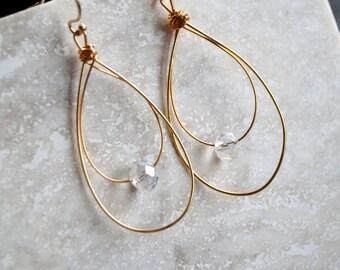 Gold Plated Wire Earrings - Teardrop Crystal Earrings