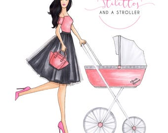 Fashion Illustration, Custom Fashion Illustration, Blog Illustration, Fashion Illustrator, Custom Blog Header, personalized blog header