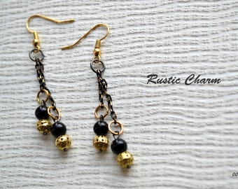 Black and Gold Dangle Fish Hook Earrings