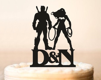 Wedding Cake Topper,Deadpool and Wonder Woman Cake Topper,Deadpool and Wonder Woman Silhouette,Cake Toppers superheroes,Initial topper(0171)