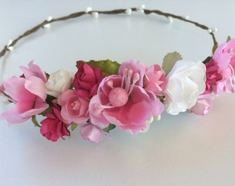 Flower crown, wedding rose crown, pink rose pip berries tiara, flower girl crown,toddler flower headband