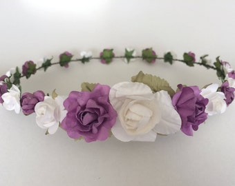 Purple and white flower crown, wedding rose crown, purple and white rose tiara, flower girl crown, toddler flower headband, lilac roses