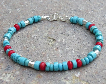 Turquoise Coral & Silver Bracelet