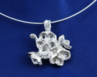 Sterling Silver Cherry Blossom  Necklace- Sterling Silver(DEOX) Pendant with Sterling Chain