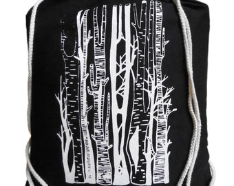 "Gym bags ""Birch Grove"", white on black, screen printing"