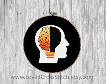 Nerd Cross Stitch Pattern Modern, Geek Cross Stitch, Brain Cross Stitch, Light bulb Cross Stitch, PDF Pattern, Modern Cross Stitch, Think