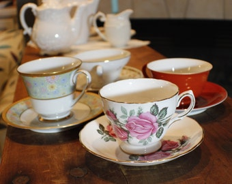 Tea Party Set of Coordinating Cups and Saucers -0031