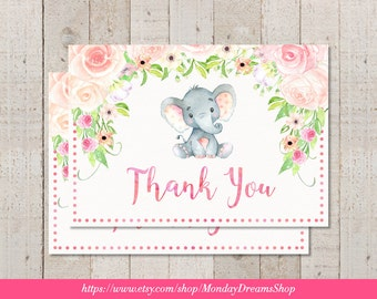 Printable Girl Elephant Floral Baby Shower Thank you Card Girl Jungle Elephant Baby Shower Pink Elephant