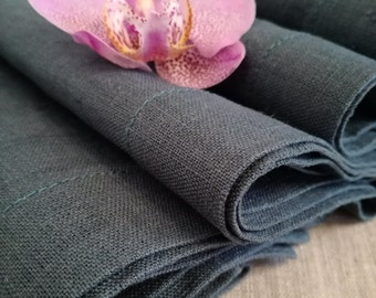 Pure Linen Napkin Set of 6 8 10 12 - Dark Grey Blue Linen Napkins - Denim Napkins - Pure Linen Napkins - Softened Linen Napkins - Easter