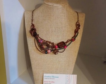 Nature necklace, brown wire