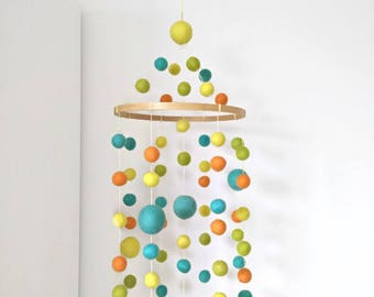 Nursery mobile/green blue yellow orange/baby mobile/baby crib mobile/felt balls mobile/unisex/modern/kid room/pompom/neon/made in Canada
