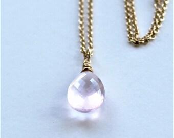Rosequarz and Gold Filled Necklace, Rosequartz Pendant Necklace, Rosequartz Jewelry, Gift for Her