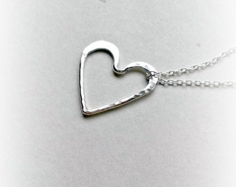 Sterling Silver Heart Necklace Hammered Pendant Love Pendant Gifts for Her valentine's gifts for her gifts under 25