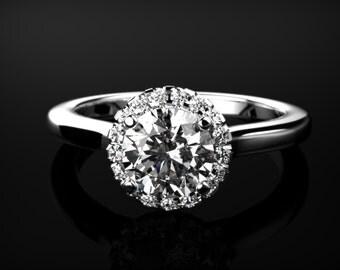 Solid White Gold White Sapphire Engagement Ring White Gold White Sapphire White Gold White Sapphire Ring Diamond Alternative White Gold