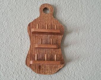 Vintage,Oak Thimble Holder,Golden Oak,8 Thimble Wall shelf,Collectible Thimble,Wall Display,Sewing Display,Thimble Holder,Eight Thimbles