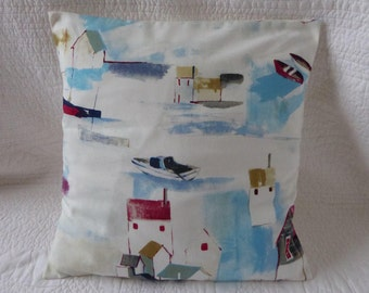 """16"""" Cushion Cover Blue Red Cream Shabby Chic Style Seaside Harbour Print New 40cm"""