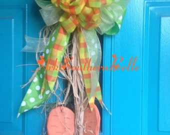 EASTER CARROT DOOR Hanger, Easter Front Door Decor, Easter Wreath, Wooden Carrots with Homemade Bow, Easter Gift, Easter Decoration,