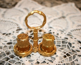 The Bucklers Salt & Pepper Shakers and Stand//Gold Ormolu//Vintage Salt and Pepper Shaker