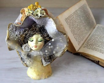 Woman's head, vintage ceramic doll with hat