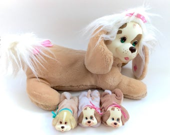 Vintage 1991 Hasbro Puppy Surprise With 3 Pups Dogs Doggy Dog Brown Tan Pink Ribbon Green Eyes Kawaii Chire 90s Retro Toys Fairy Kei Cute