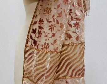 Jasmine Floral Stripe Burnout Velvet Stole Wrap Scarf Shawl Table Runner Cappuccino Beige