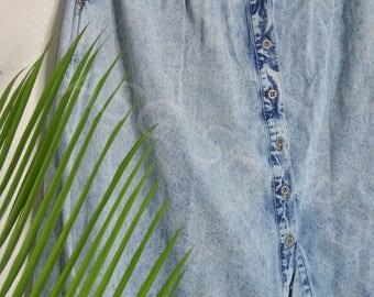 Highwaist A-line Acid Wash Denim Skirt