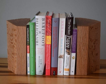 She-Oak wood bookends handmade from reclaimed timber for books, CDs, DVDs etc