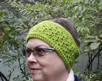 Ear warmer, adult women headband, earwarmer, crochet ear warmer, greren ear wamer, gifts under 25
